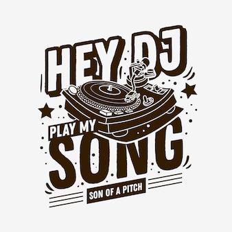 Diseño de impresión de camiseta tipográfica temática de dj con una ilustración de placa giratoria sobre un fondo blanco.