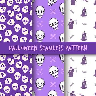 Diseño de impresión de patrón sin costuras minimalista calavera de halloween