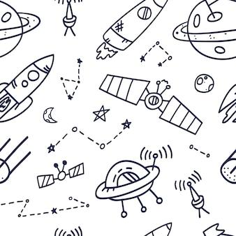 Diseño de impresión de patrones sin fisuras de espacio. diseño de ilustración de doodle para telas de moda, gráficos textiles, estampados.