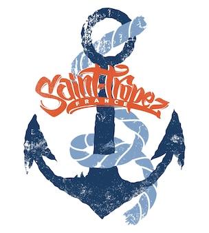 Diseño de impresión de vector de camiseta de saint-tropez