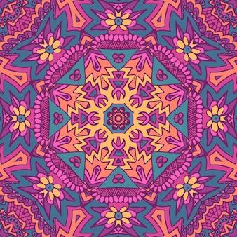 Diseño inconsútil étnico de la flor india tribal.