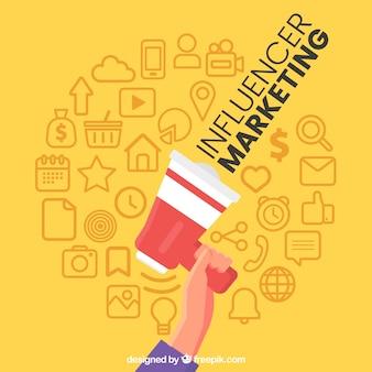Diseño de influence marketing con mano levantando altavoz