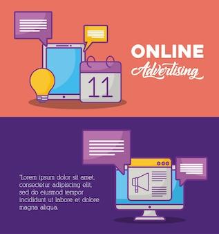 Diseño de infografía de concepto de publicidad en línea