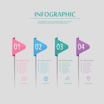 Diseño de infografía creativa con elementos de etiquetas de colores.