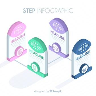 Diseño de infografía con cuatro pasos