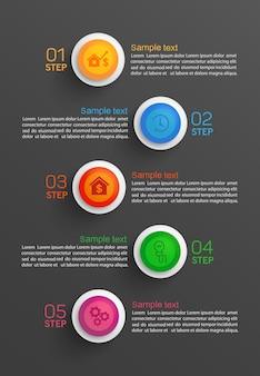 Diseño de infografía empresarial con 5 opciones o pasos.