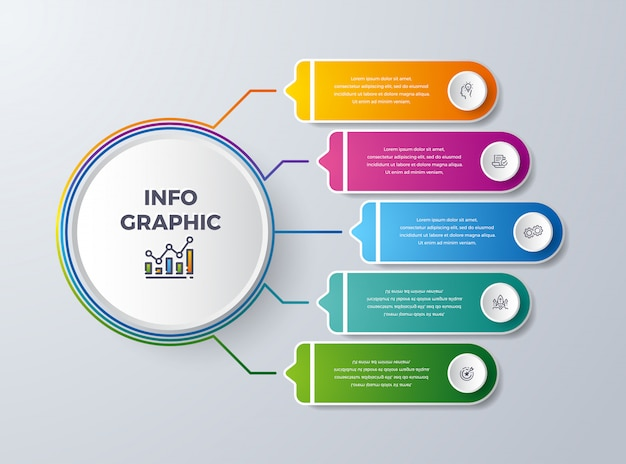Diseño de infografía empresarial con 5 procesos o pasos.