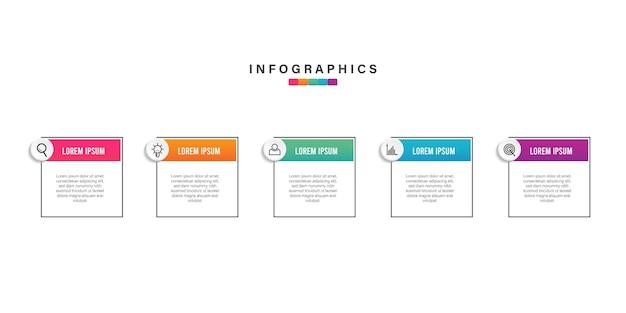 Diseño de infografía empresarial colorido abstracto con iconos