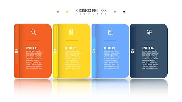 Diseño de infografía empresarial e iconos de marketing. concepto de barra de progreso con 4 opciones o pasos.