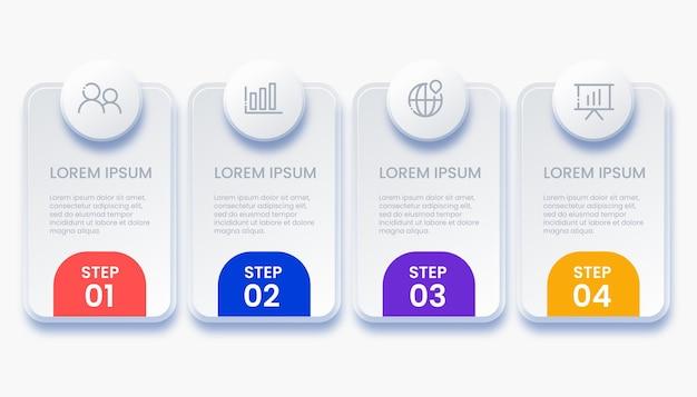 Diseño de infografía empresarial moderno con ilustración de 4 opciones