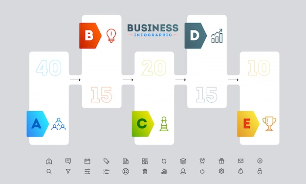 Diseño de infografía estilo banner con plantilla de cinco pasos diferentes