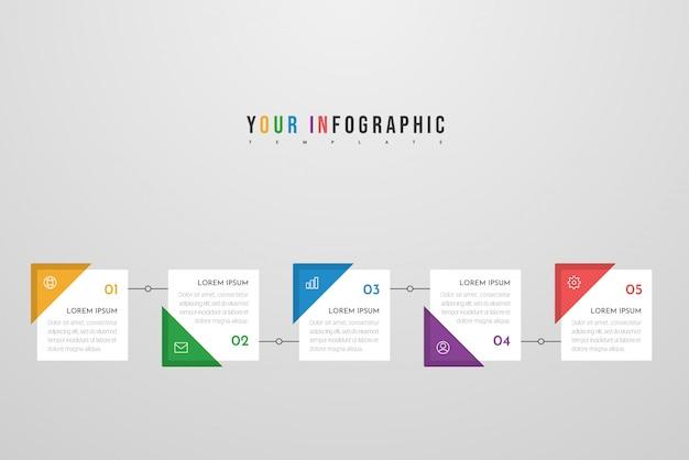 Diseño de infografía con iconos y cinco pasos u opciones. se puede utilizar para gráficos de información, diagramas de flujo, presentaciones, sitios web, pancartas, materiales impresos. .