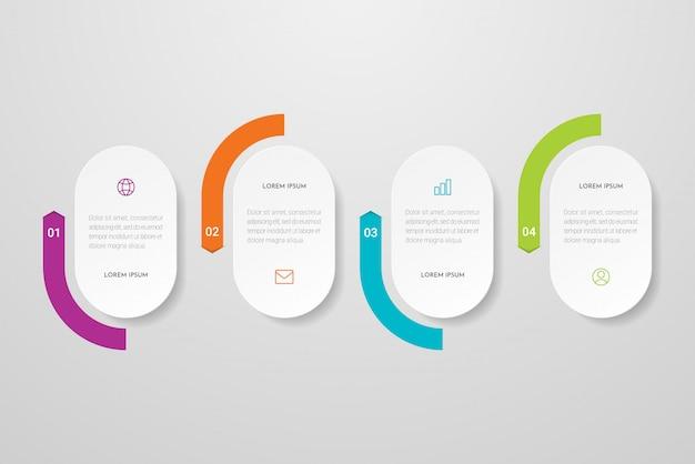 Diseño de infografía con iconos y cuatro opciones o pasos. se puede utilizar para presentaciones, diagramas de flujo, sitios web, pancartas, materiales impresos.