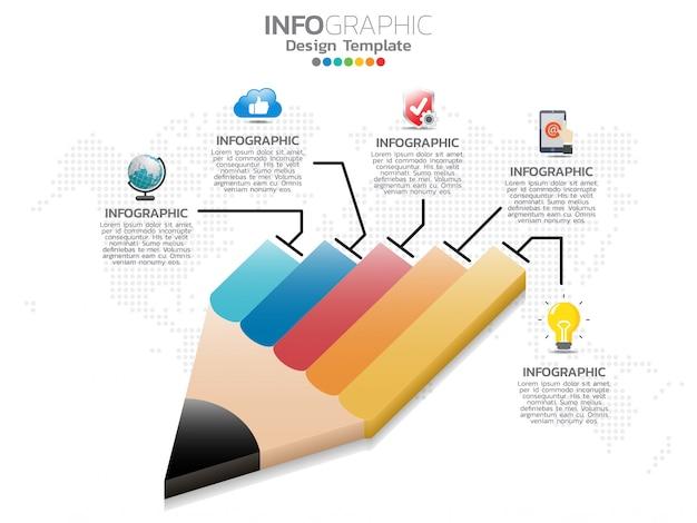 El diseño de infografía de lápiz de 5 pasos y los iconos se pueden utilizar para el flujo de trabajo.
