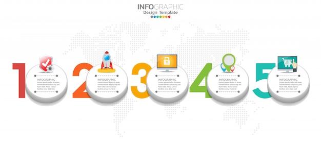El diseño de infografía de la línea de tiempo de 5 pasos y los iconos se pueden utilizar para el flujo de trabajo.