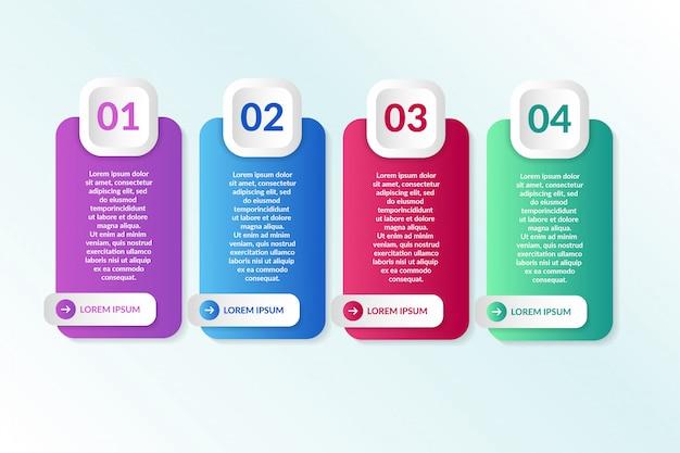 Diseño de infografía lista con información de 4 listas