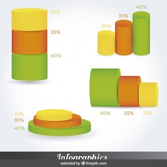 Diseño infografía mínimal abstracta en el estilo de cilindro