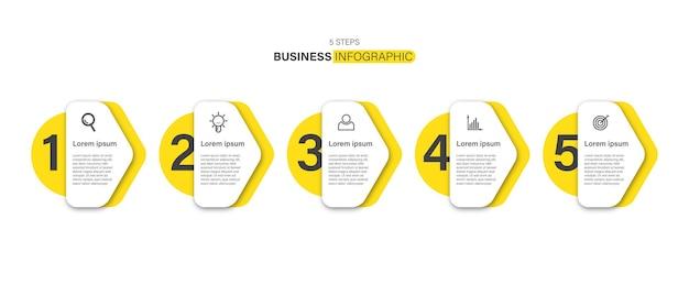 Diseño de infografía moderna para empresas, concepto de infografía de 5 pasos con icono