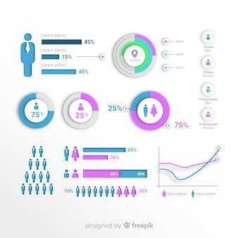 Diseño de infografía sobre personas, población, habitantes, estadísticas
