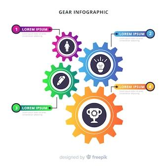 Diseño de infografía tipo engranajes