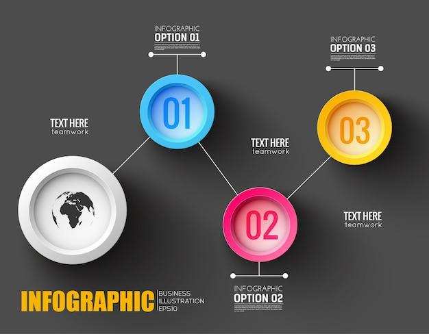 Diseño de infografía de trabajo en equipo con silueta de mapa mundial y botones numerados conectados por líneas blancas