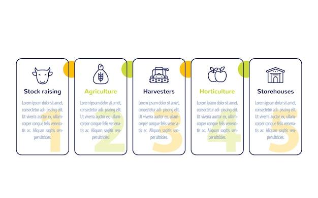 Diseño de infografías de agricultura y agricultura con iconos de línea