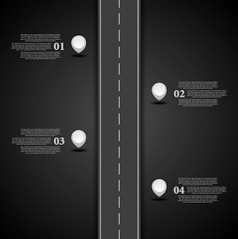 Diseño de infografías de carretera oscura.