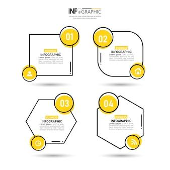 Diseño de infografías con cuatro pasos.