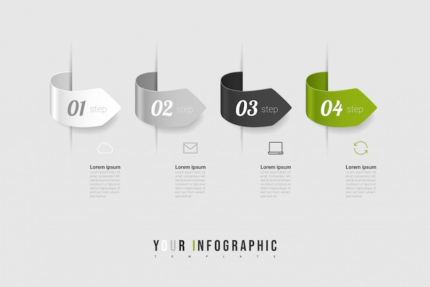 Diseño de infografías e iconos de marketing con 4 opciones, pasos o procesos.