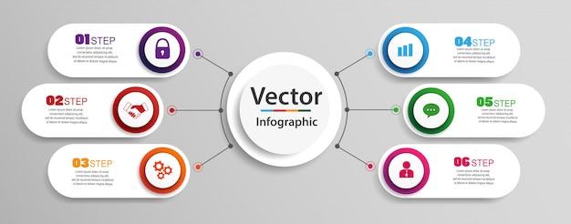 Diseño de infografías de línea de tiempo con 6 opciones, pasos o procesos.