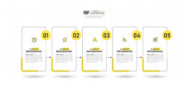 Diseño de infografías de línea de tiempo de cinco pasos