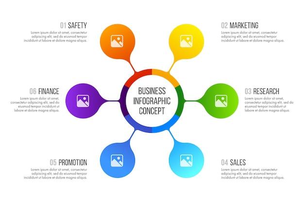 Diseño de infografías de línea de tiempo. concepto de negocio con 6 opciones, pasos o procesos.
