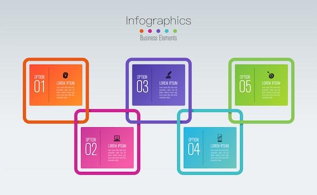 Diseño de infografías con pasos u opciones.