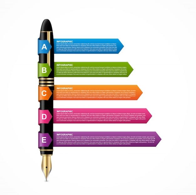 Diseño de infografías con pluma de tinta.