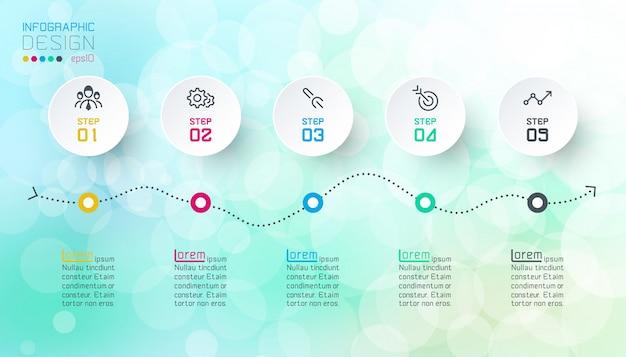 Diseño de infografías sobre fondo abstracto de bokeh.
