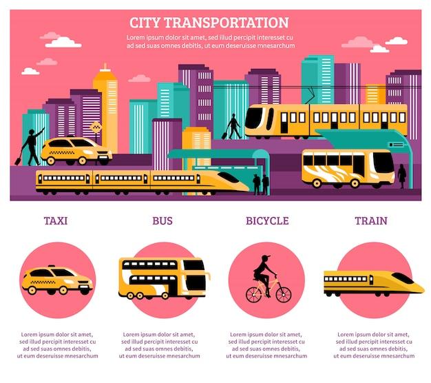 Diseño de infografías de transporte de la ciudad