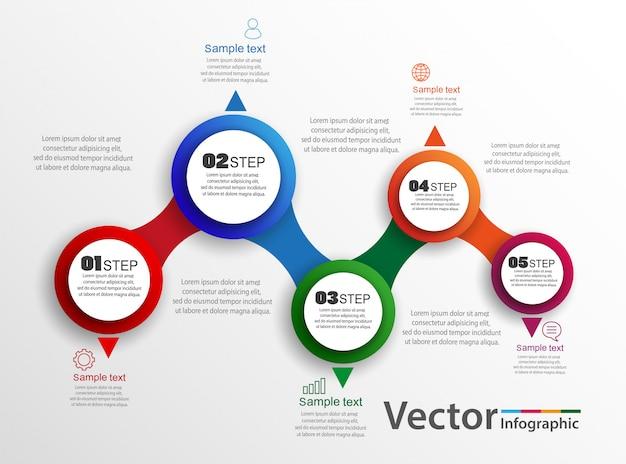 Diseño de infografías vectoriales con 5 opciones, pasos o procesos.