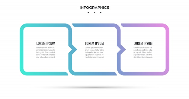 Diseño infográfico con 3 opciones o pasos. infografía para el concepto de negocio.