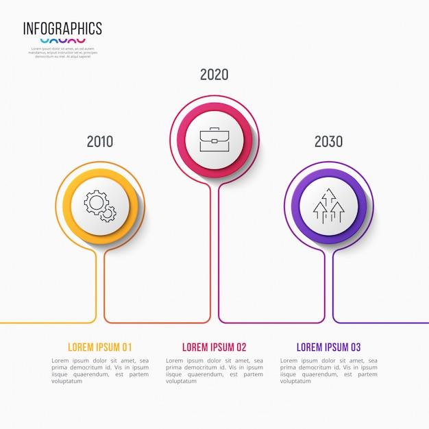 Diseño infográfico de 3 pasos, gráfico de línea de tiempo