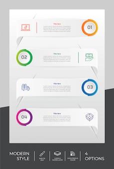 Diseño infográfico con 4 escalones y estilo moderno.