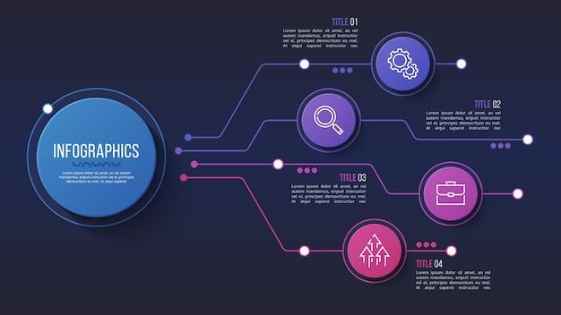 Diseño infográfico de 4 opciones, diagrama de estructura, presentación