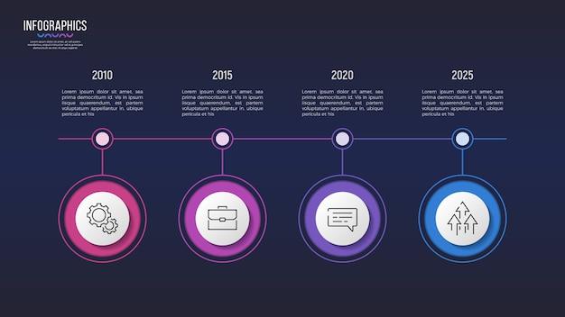 Diseño infográfico de 4 pasos, gráfico de línea de tiempo, presentación
