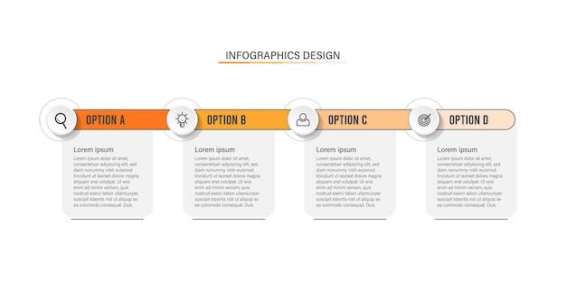 Diseño infográfico de 4 pasos u opciones para negocios y presentaciones.