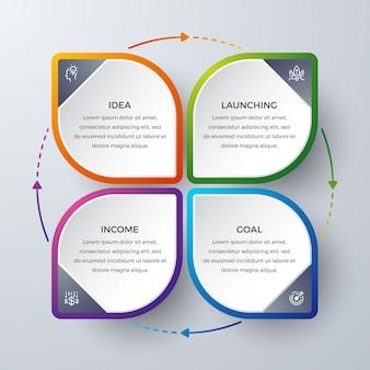 Diseño infográfico con 4 procesos o pasos.