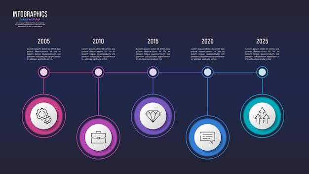 Diseño infográfico de 5 pasos, gráfico de línea de tiempo, presentación