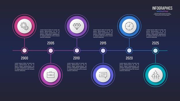 Diseño infográfico de 6 pasos, gráfico de línea de tiempo, presentación
