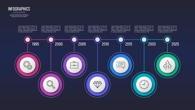 Diseño infográfico de 7 pasos, gráfico de línea de tiempo, presentación