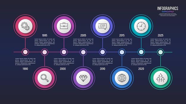 Diseño infográfico de 8 pasos, gráfico de línea de tiempo, presentación