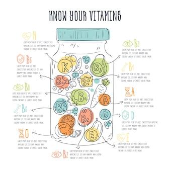 Diseño infográfico de alimentos vitamínicos