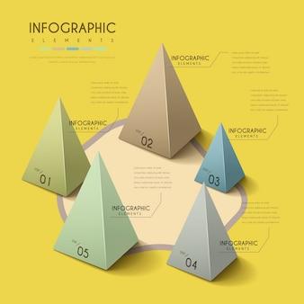 Diseño infográfico atractivo con elementos piramidales 3d